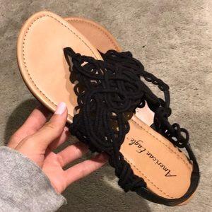 Black Crotchet Flipflops